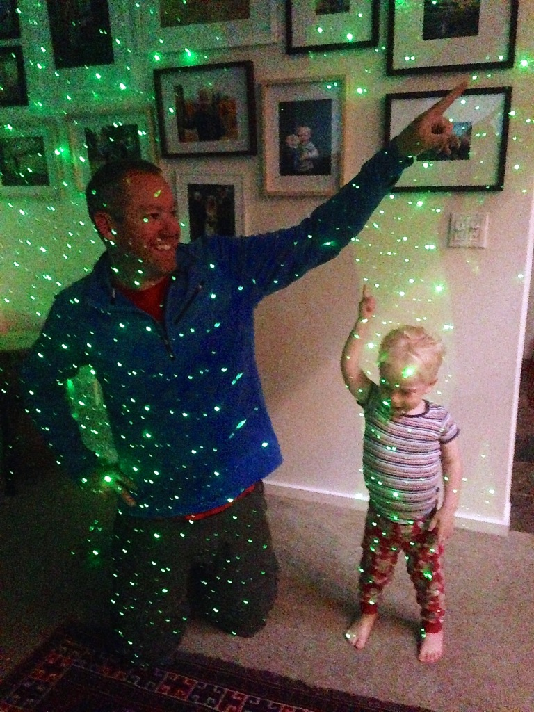 New laser light in our family room, inspired by my husband's trip to one of the Dead's last concerts.